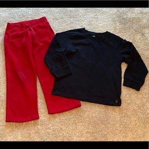 Old Navy red fleece sweatpants & Gymboree shirt 4t